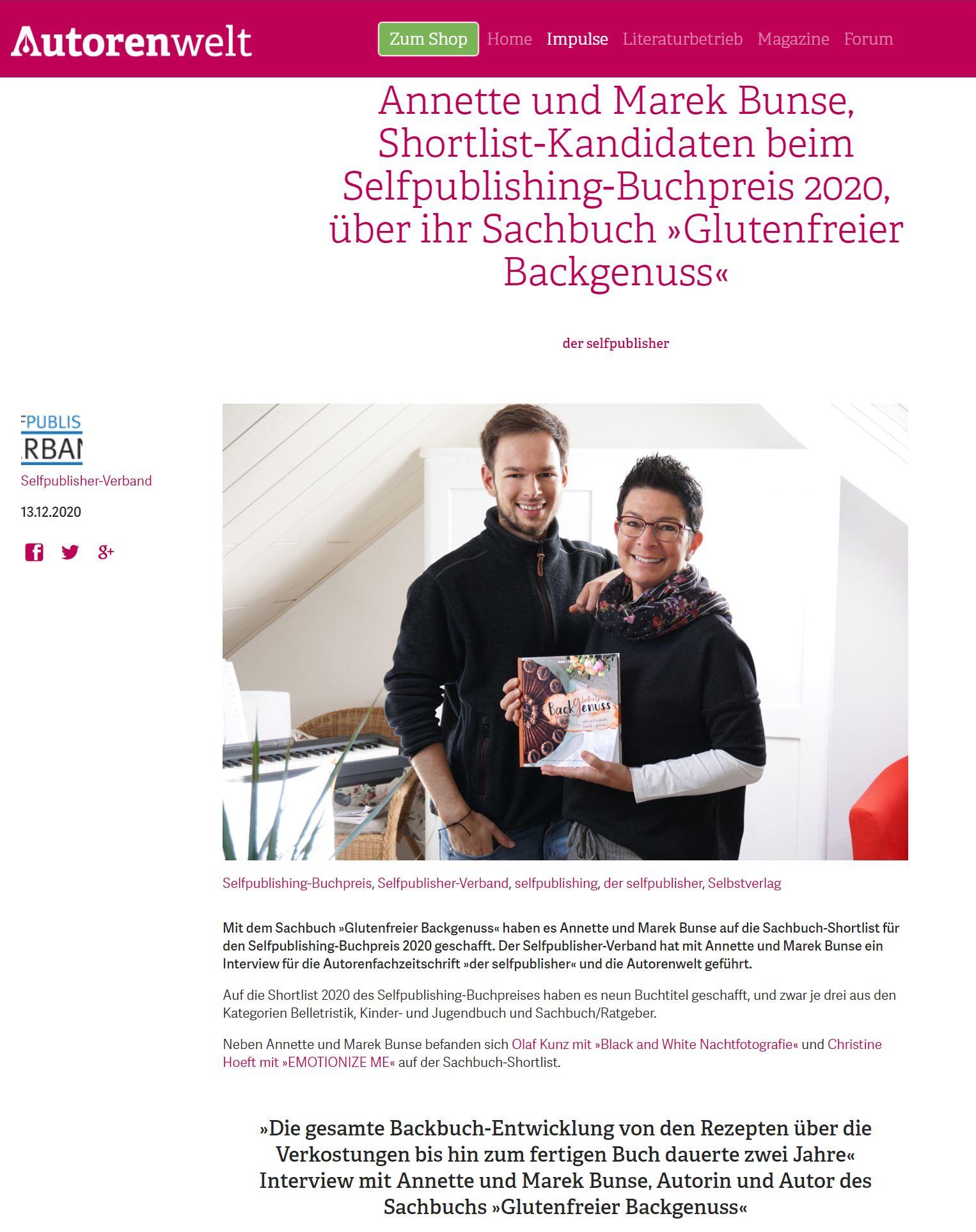 Annette und Marek Bunse im Interview auf Autorenwelt